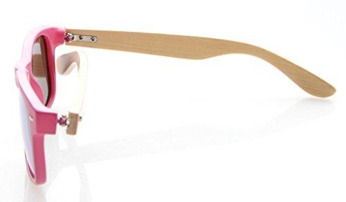 Madera Brazo de Gafas Rojo de Polarizadas con Marco Sol Hombre Clásicas Rojo para de Espejo Bambú Eyekepper SwF8w