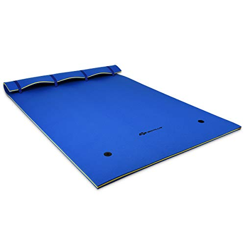 Goplus Floating Water Pad for Water Recreation and Relaxing, Foam Mat Suitable for People, Floating Mat for Pool, Beach, Ocean, Lake (9' x 6' x 1.5' Blue)