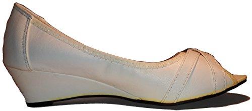 Schlicht - Elegante Pumps Ballerinas Hochglanz Low Heels in Braun, Schwarz oder Weiß, ein Echter Blickfang, Damenschuhe, FLP005, Schuh für Damen, Topaktueller Trendschuh. Weiß