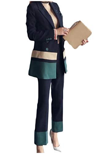 Comaba Womens 3 Button Business Trim-Fit Color Block Blazer Jacket Pants 1 S by Comaba (Image #4)
