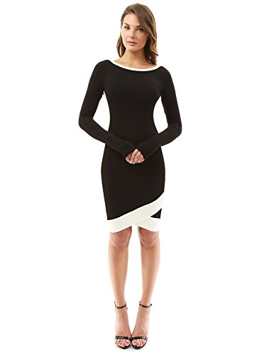 PattyBoutik Women's Color Block Boat Neck Long Sleeve Dress (Black and Ivory S)