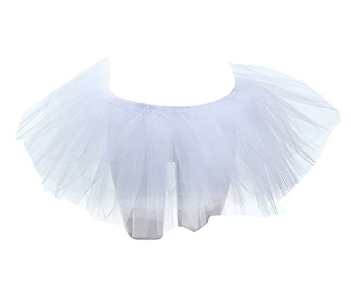 SaiDeng Jupe Tutu Femme Bouffe Pliss Mini-Jupe Danse Ballet Ballerine Tulle Taille Unique Blanc