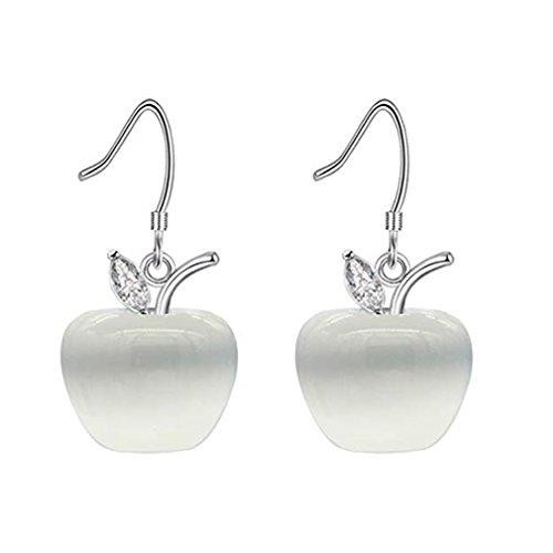 - GUAngqi Opal Apple Earrings Crystal Earrings Christmas Eve Birthday Gift for Charming Women Girls,White