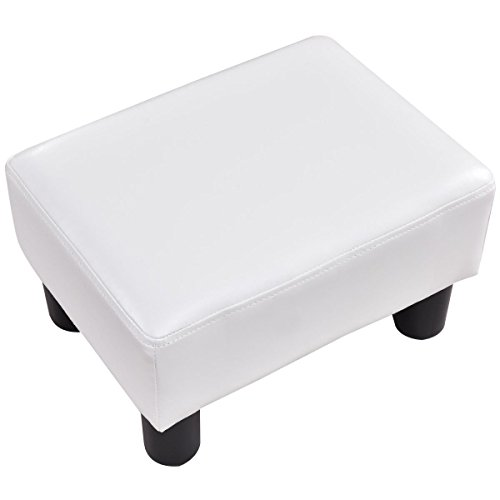 Giantex PU Leather Footstool Small Ottoman Rectangular Seat Stool with Plastic Wood Legs, White by Giantex