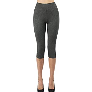 iLoveSIA 2PACK Women's Tights Capri 3/4 Leggings US Size M Black+Dark Grey