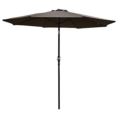 Yeshom 9ft Aluminum Outdoor Garden Patio Umbrella with Crank Tilt Deck Market Yard Beach Pool Cafe Chocolate ()