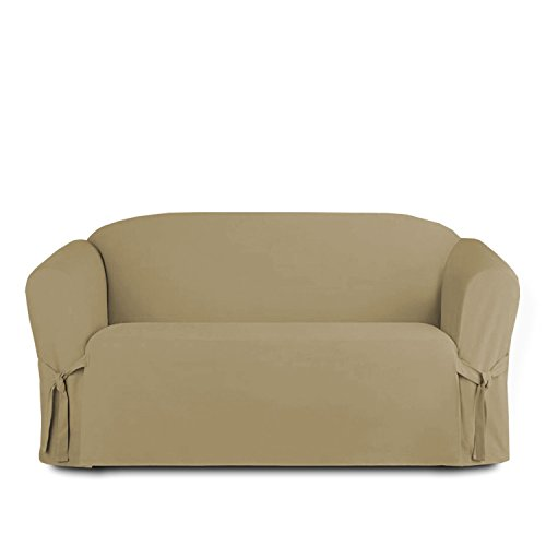 Linen Store Microsuede Slipcover Furniture Protector Cover, Taupe, Loveseat