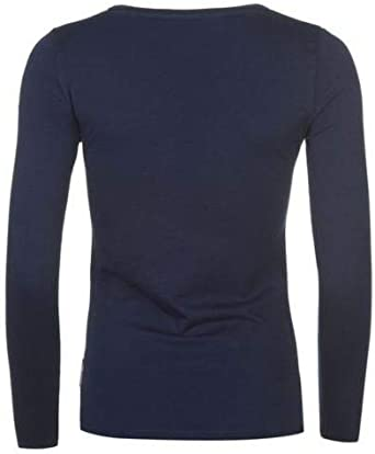 Lee Cooper Ladies Butterfly Print Logo Long Sleeve Tee Top Navy Blue