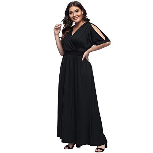 Verano Floral Ropa Fiesta Manga Talla Moda Fiesta Vestido Moda Negro Bolsillo Estampada para Top Grande Maxi Corta Elegante Largo Falda Suleto de Mujer qwnzxvS4