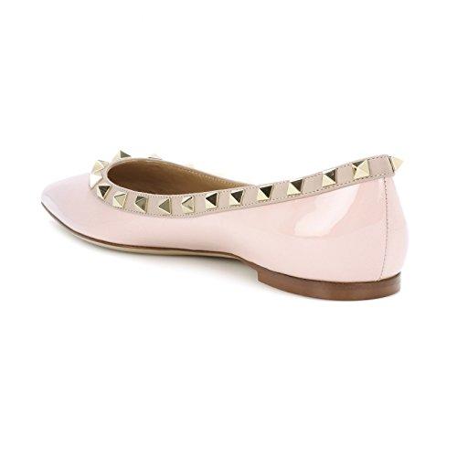 Vocosi Scarpe A Punta Per Donna, Borchie Moda Borchie Comfort Ballerine Scarpe Rosa (brevetto)