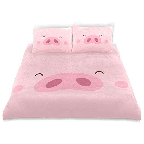 SUABO 3 Pieces Duvet Cover Twin Bedding Set Soft Cute Pink Pig Quilt Bed Covers for Kids