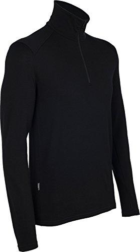 Icebreaker Men's Tech Top Long Sleeve Half Zip Top, Black, Medium