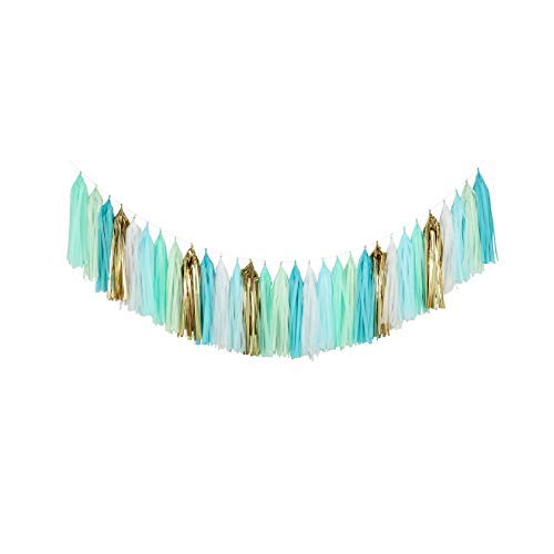 Fonder Mols Tissue Paper Tassel Garland (Pack of 30, White Mint Aqua Gold) Mermaid Party Decor First Birthday Hanging Decorations A26