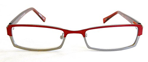 Magnivision +2.75 Red & Silver Metal Frame Reading Glasses with Spring Hinges(325)