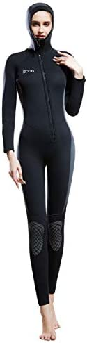 Women's 5MM Neoprene Hooded Wetsuit Full Body Warm and Cold Padded Knee Pads Front Zipper Diving Suit for
