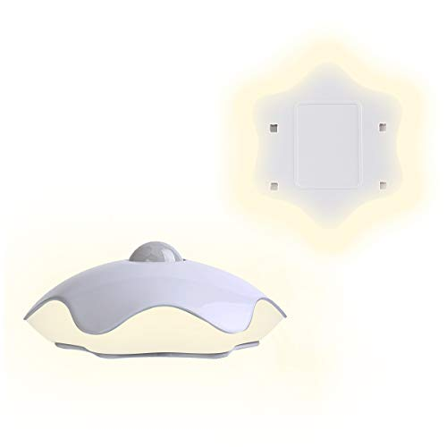 - Motion Sensor Night Light Unique 6 Leaf Lucky Clover Wall Lamp Dusk to Dawn Baby Nursery Dim Night Light, Warm White (2 Extra Tapes for Free)