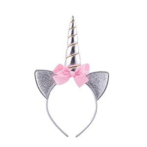 Daisyu Unicorn Horn Ears Flower Headband Unicorn Horn Headband for Party Or Cosplay