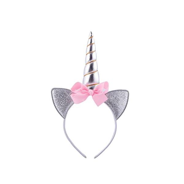 Daisyu Unicorn Horn Ears Flower Headband Unicorn Horn Headband for Party Or Cosplay 3