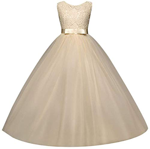 Girls Formal Prom Ball Gown Kids Lace Embroidered Wedding Party Tulle Dresses TZ09 (Champagne, 13-14year)