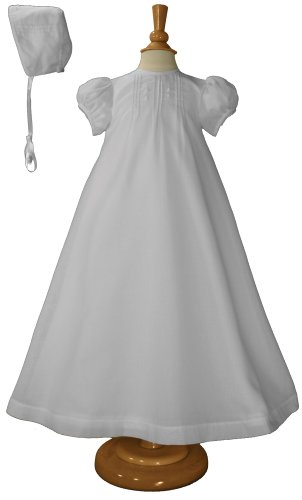 "28"" Hand Embroidered Poly Cotton Batiste Christening Baptism Gown"
