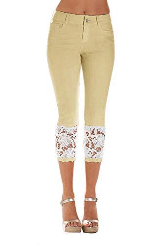 Zilcremo Mujeres Legging Denim Pantalones Skinny Pantalones Cosechados Khaki