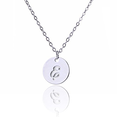 AOLO Round Handwritting Initial Disc Necklace Font ()