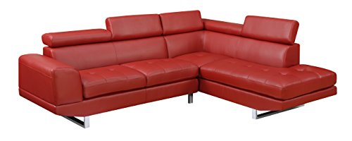 Glory Furniture G120-SC-R Sectional Sofa, Red, 2 boxes