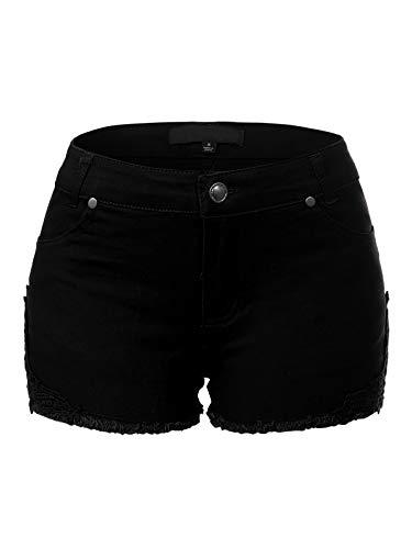 Denim Pocket Designs - Design by Olivia Women's Casual Stretchy Denim Jean Shorts with Pockets Black L
