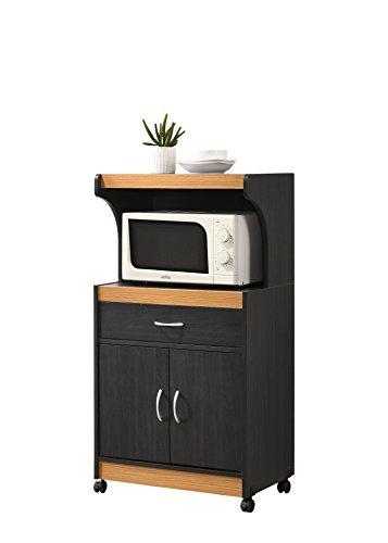 (Hodedah Microwave Kitchen Cart, Black-Beech )