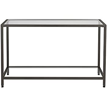 Delightful Offex Living Room Camber Clear Glass Console Table Pewter