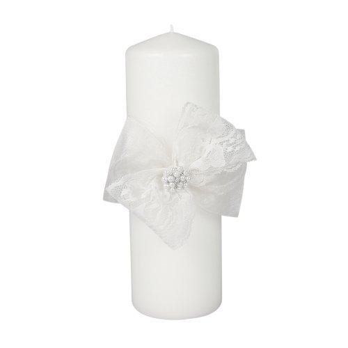 Ivy Lane Design presents Jamie Lynn Delilah Unity Pillar Wedding Candle, White by Ivy Lane Design