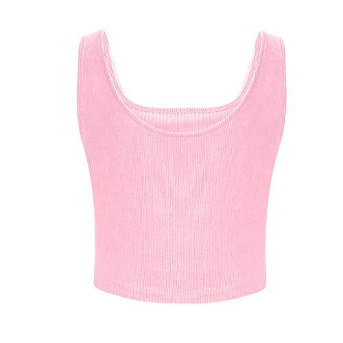 Sunhusing Women Summer Sexy Solid Color U-Neck Sleeveless Short Tee Shirt Casual Crop Top Vest Tank -