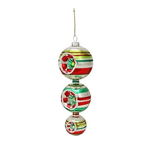 "Christopher Radko 6.75"" Shiny Brite Striped Retro Reflector Finial Glass Christmas Ornament"