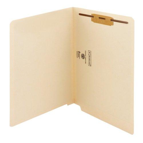 Smead End Tab Fastener File Folder, Shelf-Master Reinforced Straight-Cut Tab, 1 Fastener, Letter Size, Manila, 50 per Box (34110) (Manila 1 Fastener)