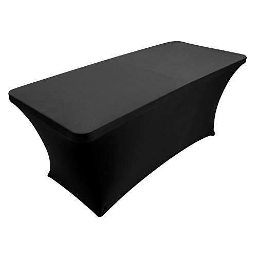 Houseables Black Table Cloths, Fitted Tablecloth Cover, 6 ft, Black, Rectangular Skirts, Polyester/Spandex, Elastic, Stretchable Linen, Stain & Wrinkle Proof, for Folding Tables, Wedding, DJ, Events]()