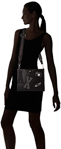 Carteras Con Armani b nero Patchwork 0 Negro De Mano 0x28 Exchange 0x3 X Crossbody 22 Mujer T Asa Cm H BqnqYagwx
