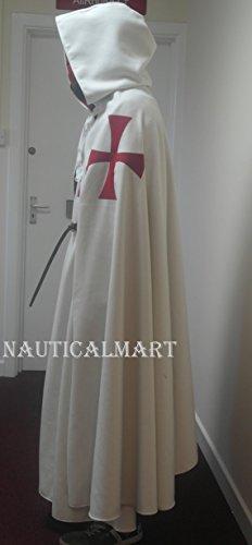 Dark Knight Battle Cape (NAUTICALMART Knights Templar White Cotton Drill surcoat and Lined Cloak)