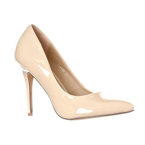 Riverberry Women's Gaby Pointed, Closed Toe Stiletto Pump Heels, Nude Patent, 6.5