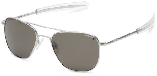 Randolph Aviator Polarized Sunglasses,Matte Chrome/Grey 55 - Grey Aviator