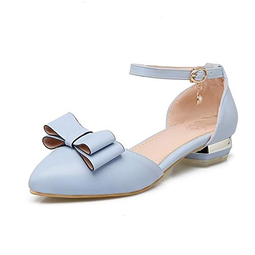 Basic Chunky Women's Heel Pump PU Blue ZHZNVX Pink Blue Shoes Summer White Heels Polyurethane gX4gHwx