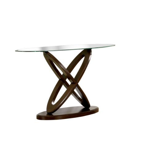 Furniture of America Xenda Sofa Table with 8mm Tempered Glass Top and Cross Shaped Base, Dark Walnut Finish
