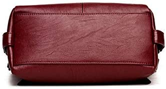 N-B Signore handbagfor, Morbida Tote in Pelle PU con Messenger Bag, Top Signore Maniglia Tracolla Lavoro Messenger Bag Red Wine