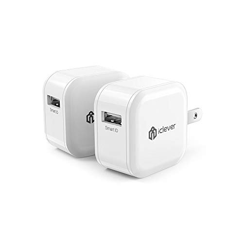 iClever USB Charger 2.4A 12W 2-Pack Wall Charger, Fast Quick Charger Adapter, Portable Travel Charger Cube with Foldable Plug for iPhone Xs/XS Max/XR/X/8/7/6/Plus, iPad Pro/Air/Mini/Samsung and More (Power Ipad)