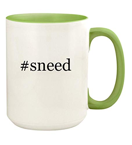 #sneed - 15oz Hashtag Ceramic Colored Handle and Inside Coffee Mug Cup, Light Green