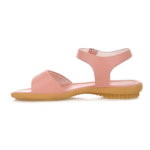 Sandals Female Summer PU Velcro Non-Slip Flat Heelwith Flat Shoes Student Shoes Pink HmDxjr4ng