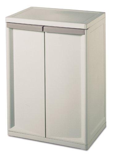 Sterilite 01408501 2-Shelf Cabinet with Putty Handles, Platinum by STERILITE