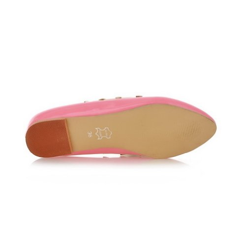 B whith Round WeenFashion Patent Leather US Flats Women's Toe M Closed Rivet Solid Pink PU 8 5 qWEz6E