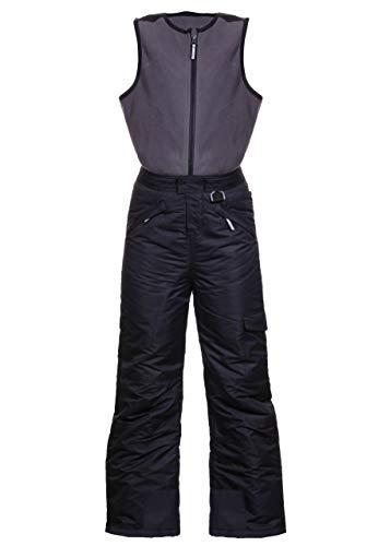 Arctic Quest Polar Fleece Water Resistant Insulated Unisex Boys and Girls Unisex Ski & Snow Bib Pants Overalls, Black, 10/12