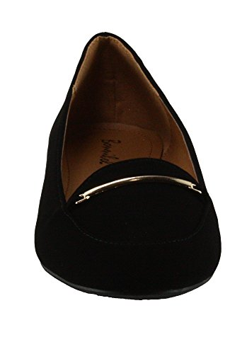 Bonnibel Womens Tory-2N Faux Suede Round-toe Flats Black rICM6ivE