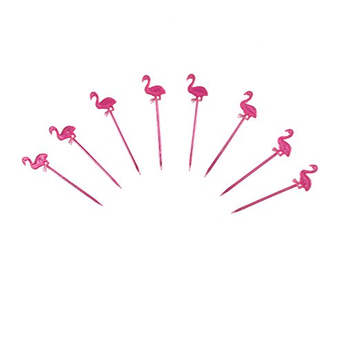 150 Pieces Pink Plastic Flamingo Fruit Toothpick Food Decoration Tropical Party Supplies